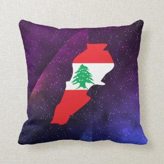mapa de la bandera de Líbano en fondo abstracto Cojín Decorativo