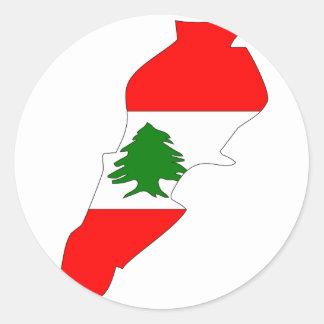 Mapa de la bandera de Líbano Pegatina Redonda