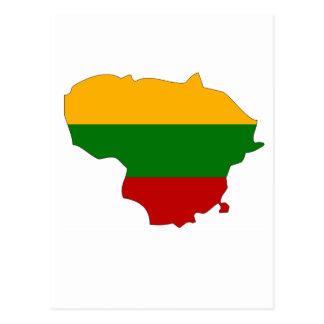 Mapa de la bandera de Lituania Tarjeta Postal