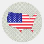 Mapa de la bandera de los E.E.U.U. del mismo Etiquetas Redondas