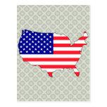 Mapa de la bandera de los E.E.U.U. del mismo tamañ Postal