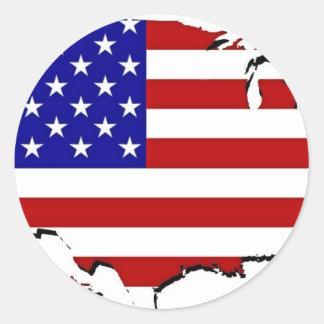 Mapa de la bandera de los E.E.U.U. Pegatinas Redondas
