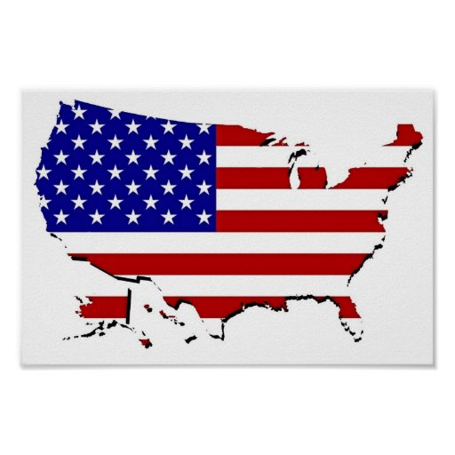 Mapa de la bandera de los E.E.U.U. Póster