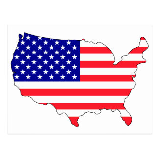 Mapa de la bandera de los E.E.U.U. Tarjetas Postales