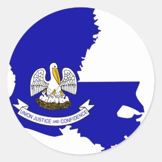 Mapa de la bandera de Luisiana Pegatina Redonda