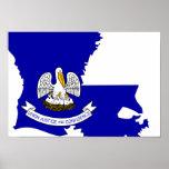Mapa de la bandera de Luisiana Posters