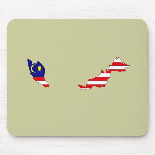 Mapa de la bandera de Malasia Alfombrilla De Raton