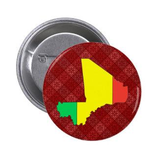Mapa de la bandera de Malí del mismo tamaño Pin Redondo 5 Cm