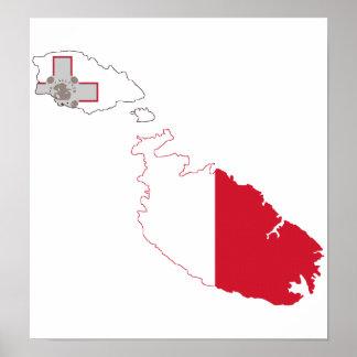 Mapa de la bandera de Malta del mismo tamaño Impresiones