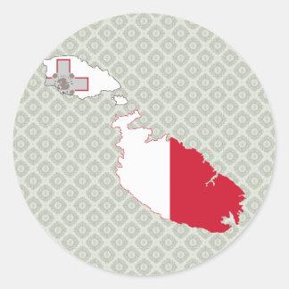 Mapa de la bandera de Malta del mismo tamaño Pegatinas Redondas