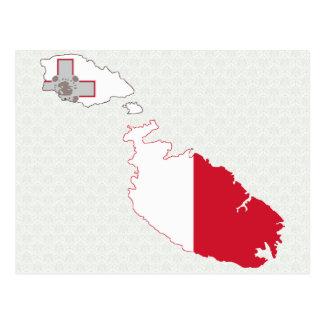Mapa de la bandera de Malta del mismo tamaño Postal