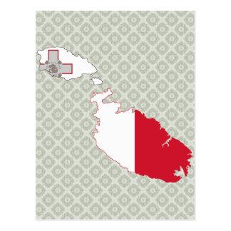 Mapa de la bandera de Malta del mismo tamaño Tarjeta Postal
