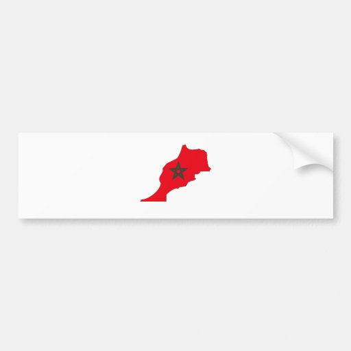 Mapa de la bandera de Marruecos del mismo tamaño Pegatina De Parachoque