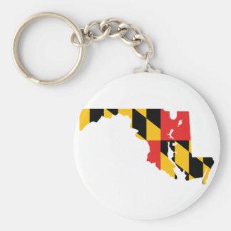 Mapa de la bandera de Maryland Llavero Redondo Tipo Pin