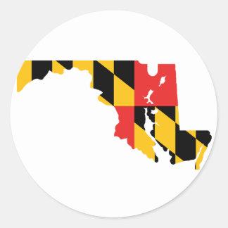 Mapa de la bandera de Maryland Pegatina Redonda