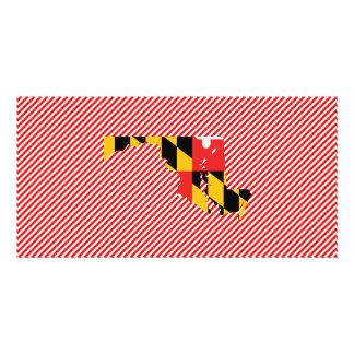 Mapa de la bandera de Maryland Tarjetas Fotográficas Personalizadas