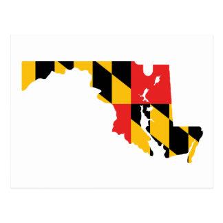 Mapa de la bandera de Maryland Tarjetas Postales