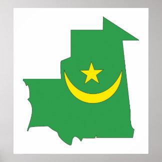 Mapa de la bandera de Mauritania del mismo tamaño Posters