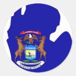 Mapa de la bandera de Michigan Pegatinas Redondas