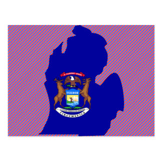 Mapa de la bandera de Michigan Postales