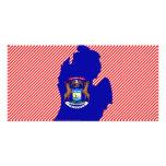 Mapa de la bandera de Michigan Tarjetas Personales