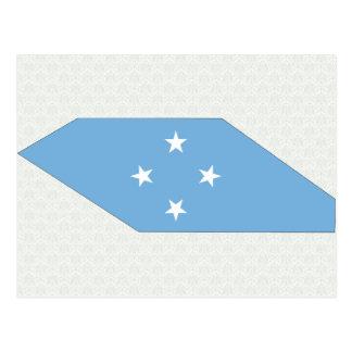 Mapa de la bandera de Micronesia del mismo tamaño Tarjeta Postal