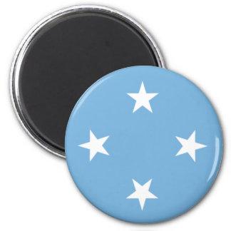 Mapa de la bandera de Micronesia Imán Redondo 5 Cm