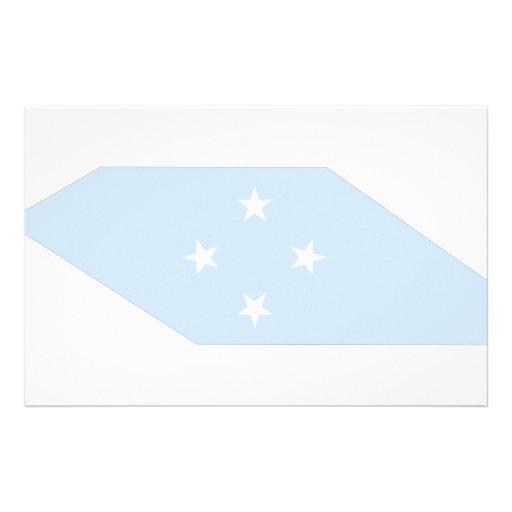 Mapa de la bandera de Micronesia Papelería Personalizada