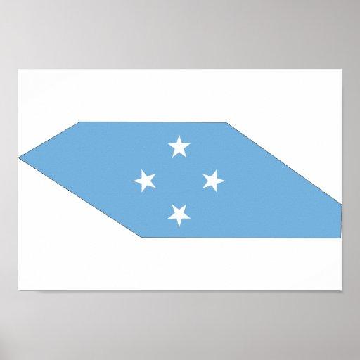Mapa de la bandera de Micronesia Póster