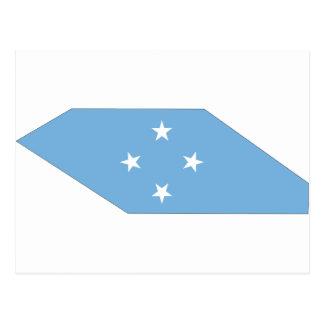 Mapa de la bandera de Micronesia Tarjetas Postales