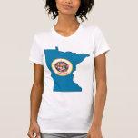 Mapa de la bandera de Minnesota Camisetas
