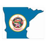 Mapa de la bandera de Minnesota Tarjetas Postales