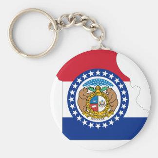 Mapa de la bandera de Missouri Llavero Redondo Tipo Pin