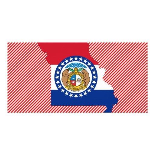 Mapa de la bandera de Missouri Tarjetas Fotográficas Personalizadas