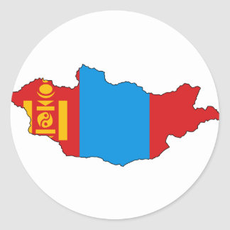 Mapa de la bandera de Mongolia Pegatina Redonda