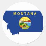 Mapa de la bandera de Montana Pegatina Redonda