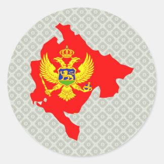 Mapa de la bandera de Montenegro del mismo tamaño Pegatina Redonda