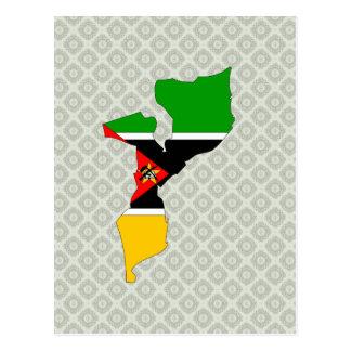 Mapa de la bandera de Mozambique del mismo tamaño Tarjetas Postales