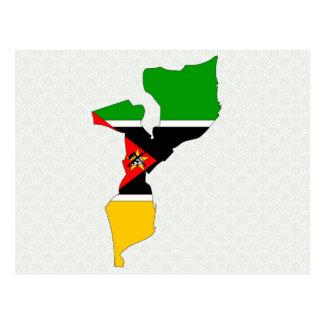 Mapa de la bandera de Mozambique del mismo tamaño Tarjeta Postal