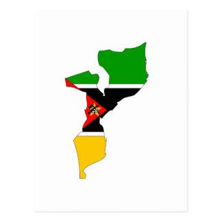 Mapa de la bandera de Mozambique Tarjetas Postales