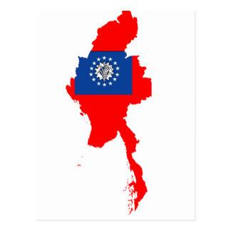 Mapa de la bandera de Myanmar Tarjetas Postales