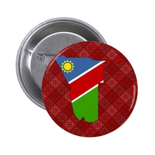 Mapa de la bandera de Namibia del mismo tamaño Pin Redondo 5 Cm