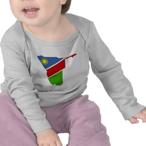 Mapa de la bandera de Namibia del mismo tamaño Camisetas