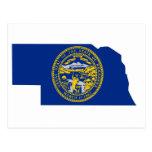 Mapa de la bandera de Nebraska Postales