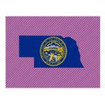 Mapa de la bandera de Nebraska Tarjeta Postal