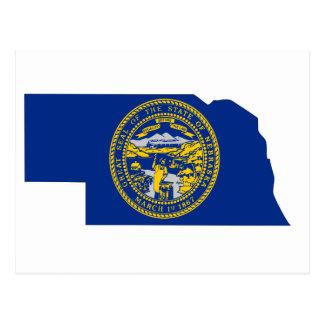 Mapa de la bandera de Nebraska Tarjetas Postales