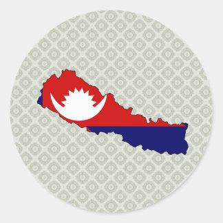Mapa de la bandera de Nepal del mismo tamaño Pegatina Redonda