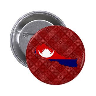 Mapa de la bandera de Nepal del mismo tamaño Pin