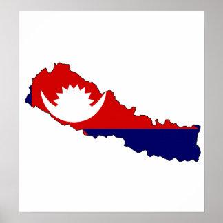 Mapa de la bandera de Nepal del mismo tamaño Póster