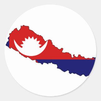 Mapa de la bandera de Nepal Pegatina Redonda